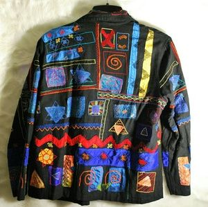 Chico's Design Size 2 Embroidered Jacket